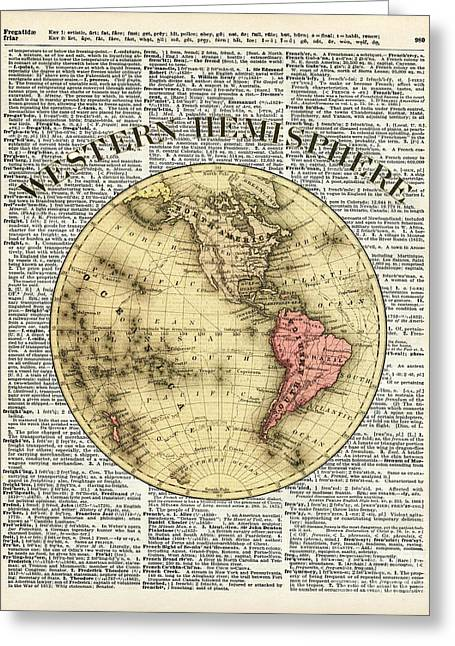 Continent Mixed Media Greeting Cards - Western Hemisphere Earth map  Greeting Card by Jacob Kuch