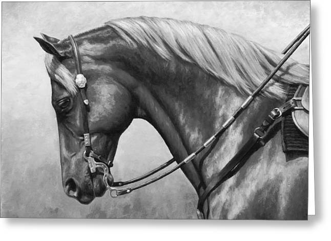 Western Horse Black And White Greeting Card by Crista Forest