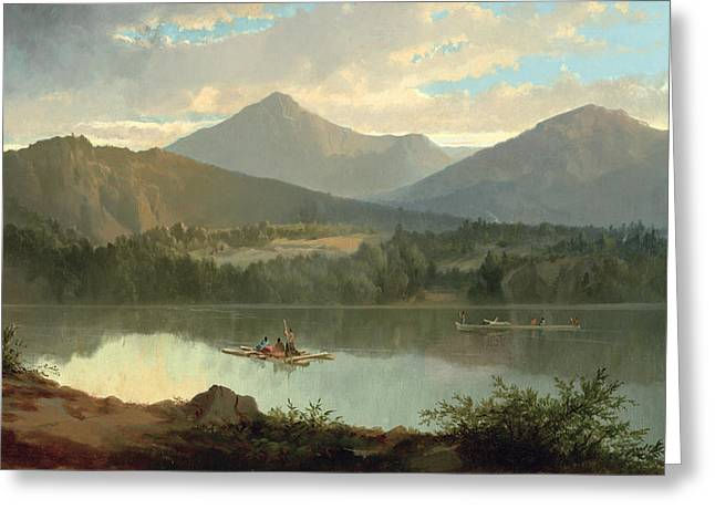 Picturesque Paintings Greeting Cards - Western Landscape Greeting Card by John Mix Stanley
