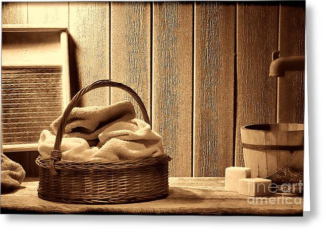 Old Washboards Photographs Greeting Cards - Western Laundromat   Greeting Card by American West Legend By Olivier Le Queinec