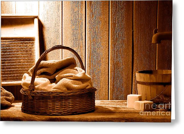 Western Laundromat - Sepia Greeting Card by Olivier Le Queinec