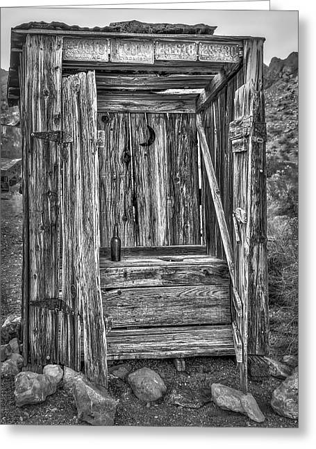 Western Outhouse Bw Greeting Card by Susan Candelario