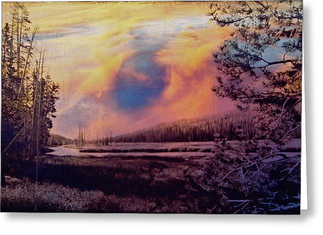 Clouds Glass Art Greeting Cards - Western Sky Greeting Card by Mykel Davis