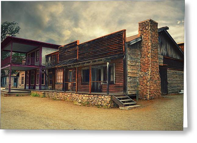 Wooden Stairs Greeting Cards - Western Town - Paramount Ranch Greeting Card by Glenn McCarthy Art and Photography