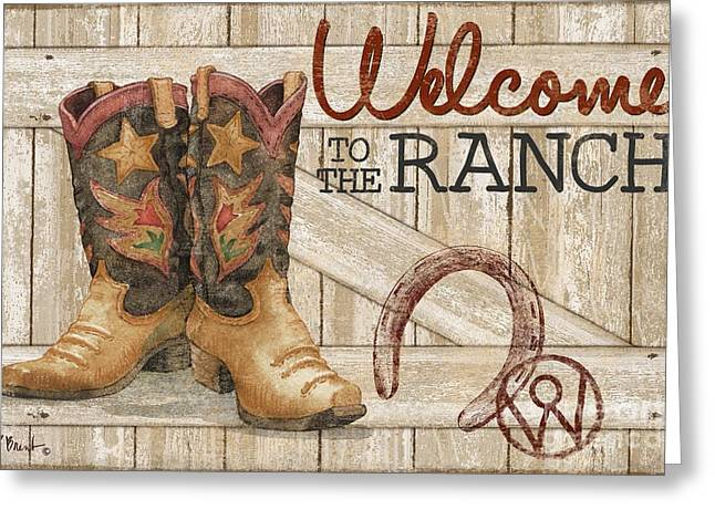 Western Boots Greeting Cards - Western Wear - Welcome to the Ranch Greeting Card by Paul Brent