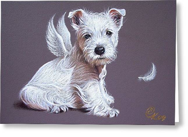 West Highland Terriers Greeting Cards - Westie angel Greeting Card by Elena Kolotusha