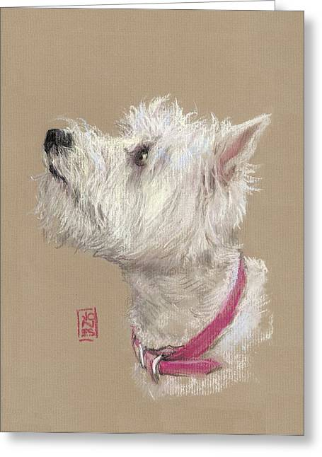 Westie Greeting Cards - Westie Profile Greeting Card by Debra Jones