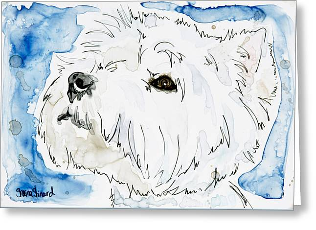 Westie With Blue Greeting Card by Shaina Stinard