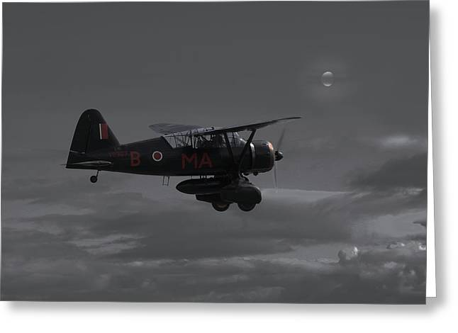 Westland Lysander - Moonlit Mission Greeting Card by Pat Speirs