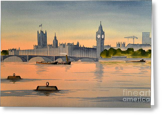 Westminster And Big Ben  Greeting Card by Bill Holkham