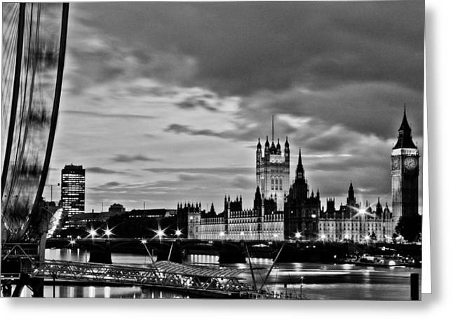 Westminster Greeting Cards - Westminster black and white Greeting Card by Dawn OConnor