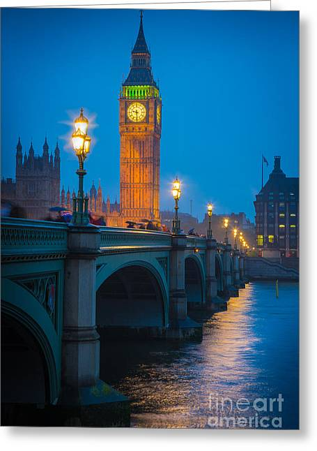 Clock Greeting Cards - Westminster Bridge at Night Greeting Card by Inge Johnsson