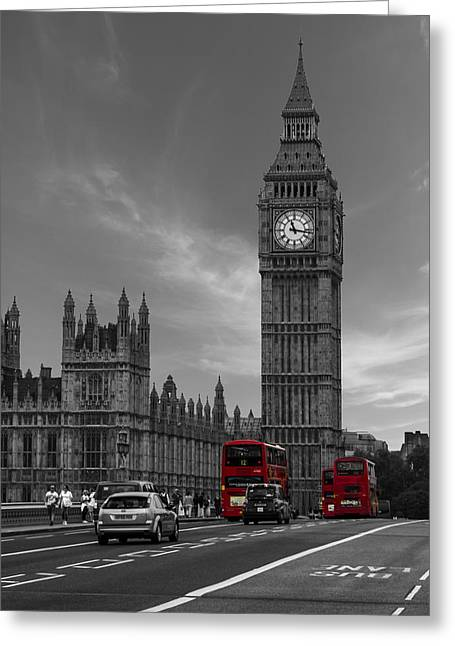 Rush Hour Greeting Cards - Westminster Bridge Greeting Card by Martin Newman