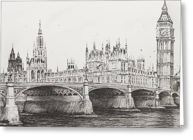 Famous Bridge Drawings Greeting Cards - Westminster Bridge Greeting Card by Vincent Alexander Booth