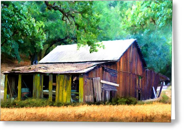 Red Roofed Barn Greeting Cards - Westside Barn Greeting Card by Stan Angel