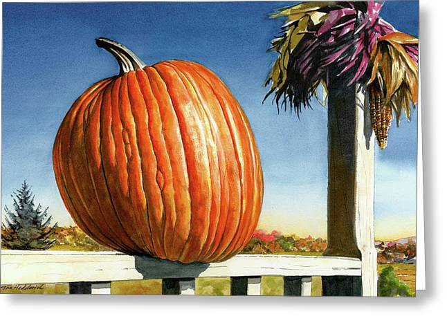 Autumn Prints Greeting Cards - Westtown Pumpkin Greeting Card by Tom Hedderich