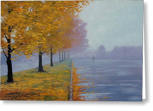 Autumn Prints Greeting Cards - Wet Autumn Day Greeting Card by Graham Gercken