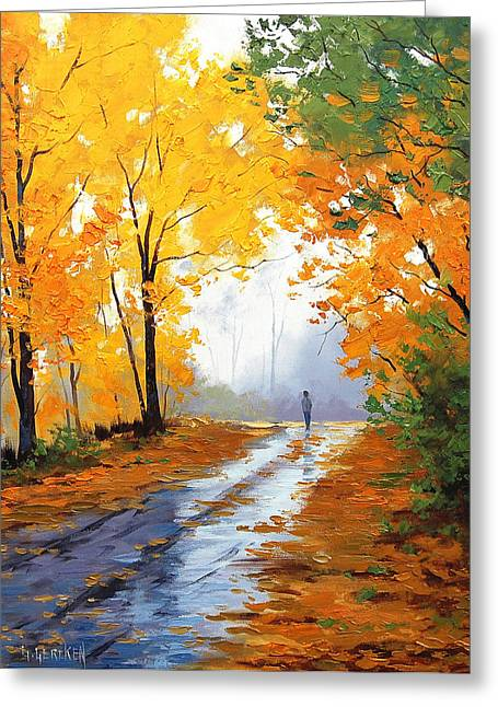 Figures Paintings Greeting Cards - Wet Autumn Morning Greeting Card by Graham Gercken