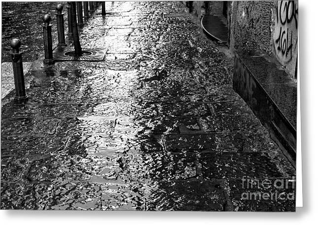 Old Street Greeting Cards - Wet in Naples Greeting Card by John Rizzuto