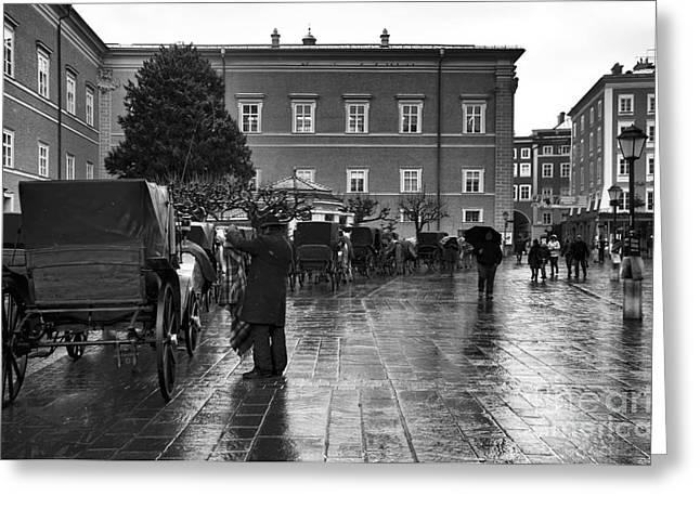 Art In Salzburg Greeting Cards - Wet in Salzburg mono Greeting Card by John Rizzuto