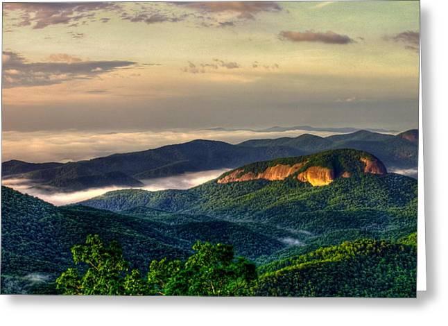Looking Glass Rock Sunrise Between The Clouds Blue Ridge Parkway Greeting Card by Reid Callaway