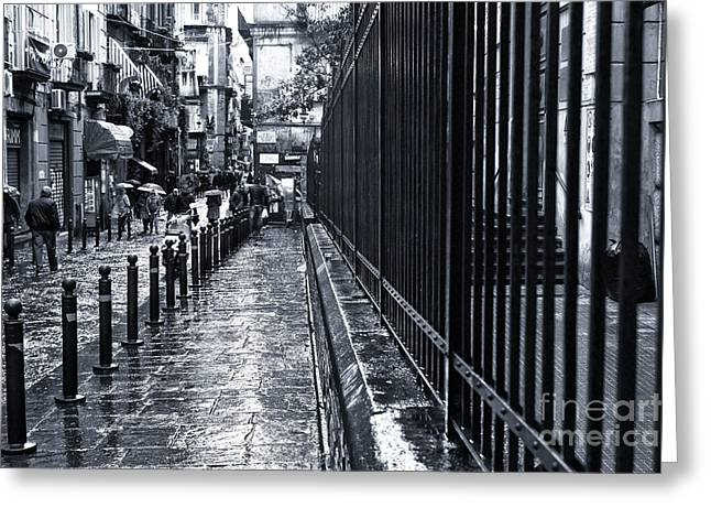 Old Street Greeting Cards - Wet Sidewalk in Naples Greeting Card by John Rizzuto