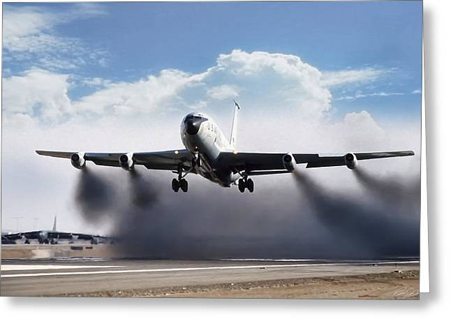 Wet Takeoff Kc-135 Greeting Card by Peter Chilelli