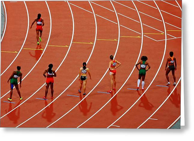 Female Athletics Greeting Cards - Wet Track Greeting Card by Unsplash