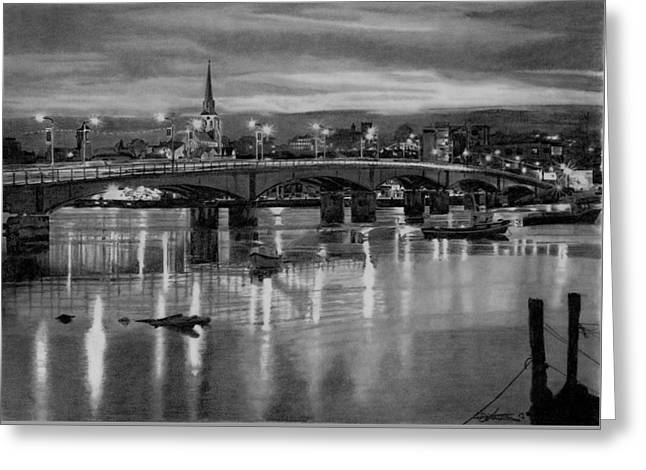 Night Lamp Drawings Greeting Cards - Wexford Bridge and harbour Ireland Greeting Card by Dave Irving