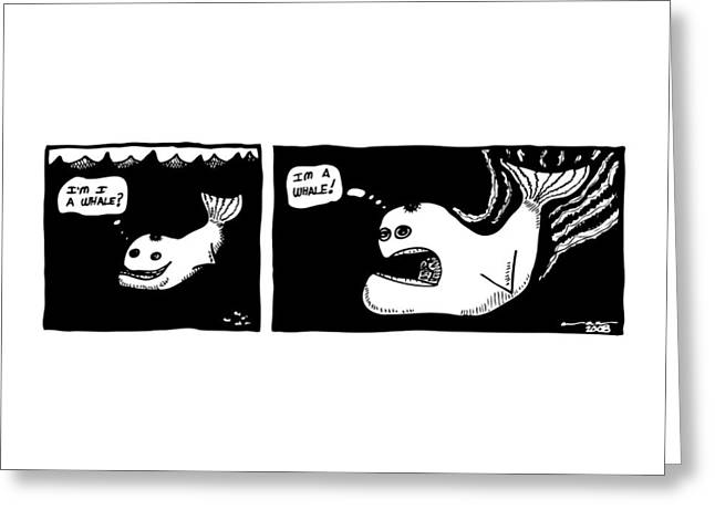 Whale Drawings Greeting Cards - Whale Comic Greeting Card by Karl Addison