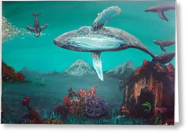 Ocean Mammals Greeting Cards - Whale Farm Greeting Card by Matthew Gaunt
