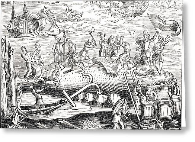 Apparel Greeting Cards - Whale Fishing. After Woodcut In Greeting Card by Ken Welsh