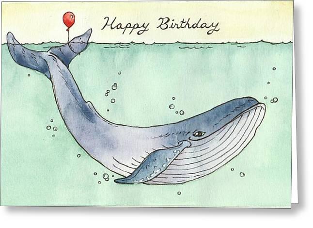 Whale Happy Birthday Card Greeting Card by Katrina Davis