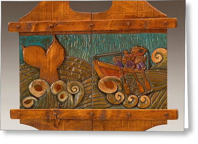Fish Reliefs Greeting Cards - Whale Hunting Greeting Card by James Neill