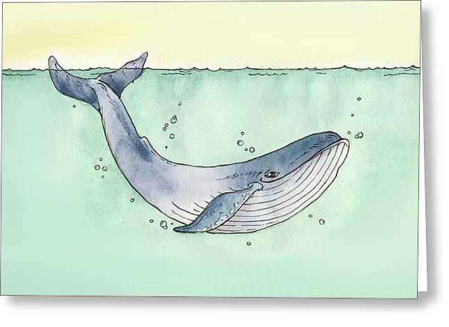 Whale Greeting Card by Katrina Davis