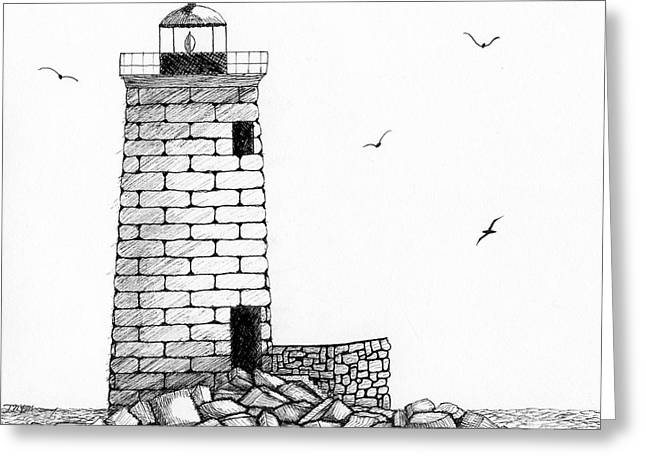 Maine Landscape Drawings Greeting Cards - Whaleback Ledge Lighthouse Greeting Card by Tim Murray