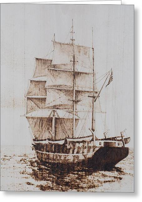 Whaleship Greeting Card by Dominic Abela