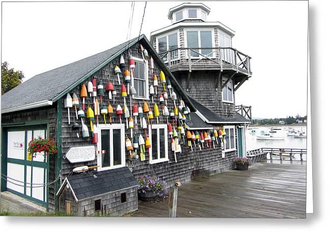 Foggy Ocean Greeting Cards - Wharf Honoring The Harding Lobstermen Greeting Card by Bill Hayes