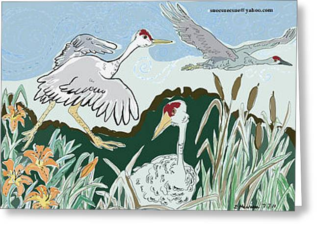 Water Lilly Drawings Greeting Cards - What Bird can Lift the Most Greeting Card by Susie Morrison