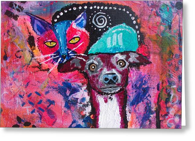 Puppies Mixed Media Greeting Cards - What Cat? Greeting Card by Suzanne Allen