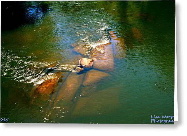 Blue Green Water Greeting Cards - What Lies Beneath Greeting Card by Lisa Wooten