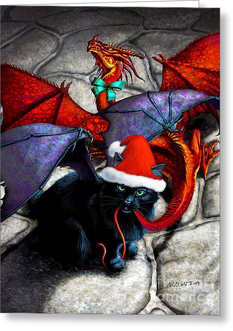 Cat Fantasy Greeting Cards - WHAT THE CATABAT DRAGGED IN FOR CHRISTMAS  card Greeting Card by Stanley Morrison