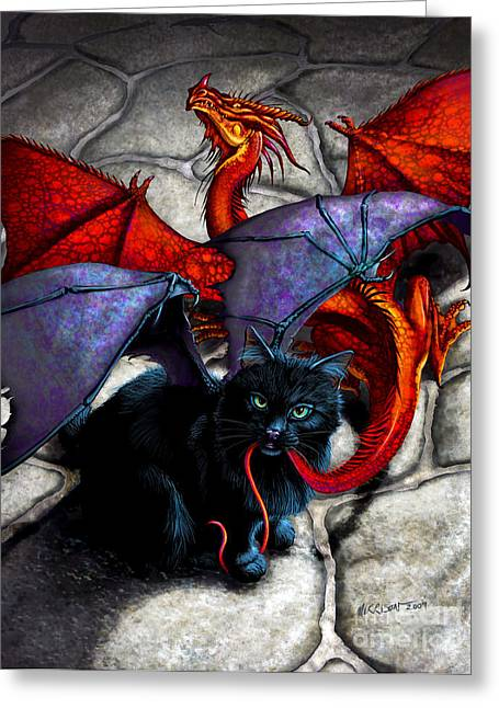 Cat Fantasy Greeting Cards - What The Catabat Dragged In Greeting Card by Stanley Morrison