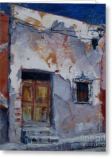 Run Down Paintings Greeting Cards - Whats Behind that Door Greeting Card by Birgit Coath