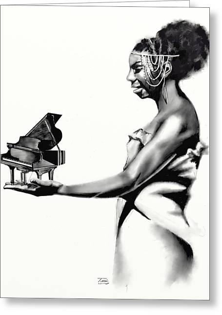 Nina Simone Greeting Cards - Whats Hapnin Ms Simone Greeting Card by Terri Meredith