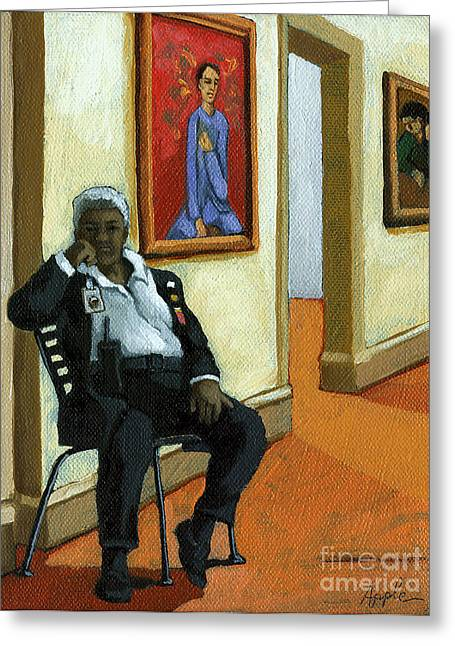 Whats In The Pose - Figurative Oil Painting Greeting Card by Linda Apple