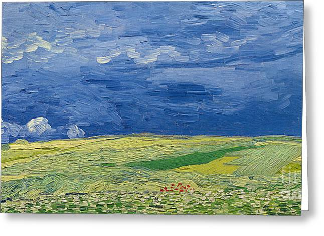 Wheatfields Under Thunderclouds Greeting Card by Vincent Van Gogh