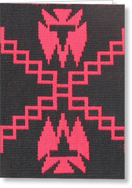 Southwest Tapestries - Textiles Greeting Cards - War Path black Greeting Card by Judy Hilbish