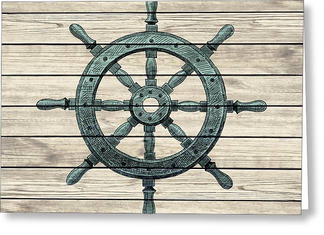 Recently Sold -  - Pirate Ships Greeting Cards - Wheel Of Pirate Ship Vintage Style Wooden Design Greeting Card by Jolanta Prunskaite
