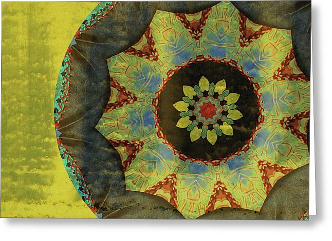 Abstract Digital Mixed Media Greeting Cards - Wheel of Time Greeting Card by Bonnie Bruno